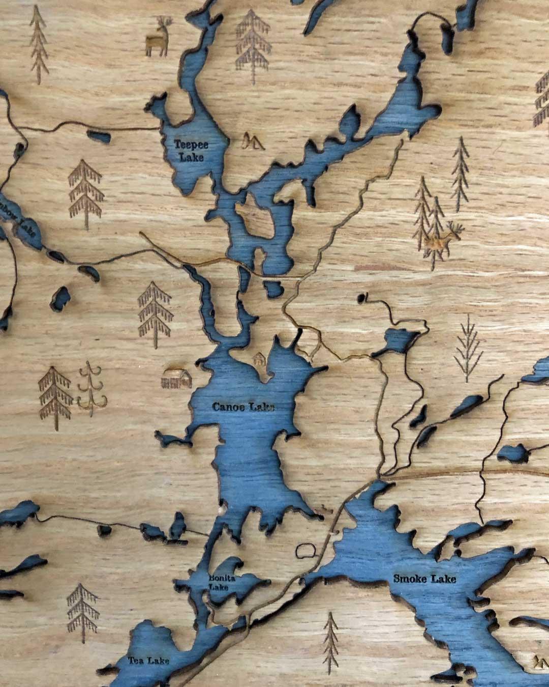 Algonquin Park Trout Lake To Canoe Lake Laser Cut Map